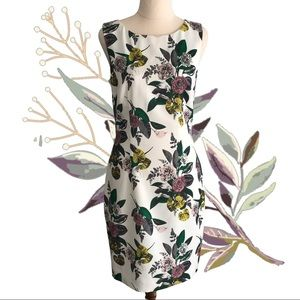 H&M White Floral Beaded Cutout Back Dress
